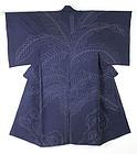Meiji Indigo Sashiko Hand-spun Cotton Kimono Kanazawa.