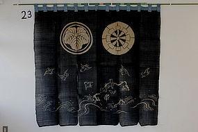 Edo Indigo Jyoufu-hemp Tsutsugaki plover and wave