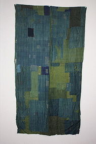 Indigo & green Patched sashiko Stitch silk rag edo era