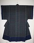 antique Indigo dye cotton cross stripes kimono yogi