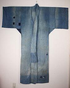 antique boro Indigo hand-spun cotton Patched noragi edo (1800-1867)