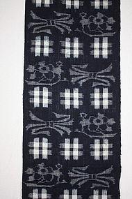 Japanese  antique  Indigo dye kasuri cotton  of hand-spun meiji