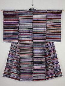 Meiji Tsumugi-Silk Zansi Kimono Hand-spun Very rare