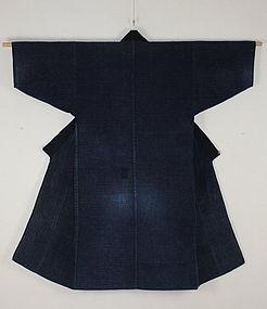 Japanese anrique Indigo dye sashiko boro noragi kimono rare meiji