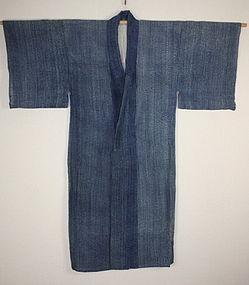 Japanese antique Indigo dye cotton gotaiten-shibori ro-kimono Taisyo