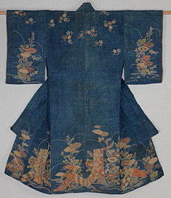 Edo Indigo Yuzen Child kimono Hemp Hand-spun. Rare.