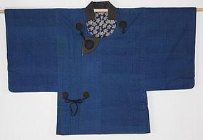 Edo Indigo Cotton Katazome Hemp Haori Beautiful Sakura Hand-spun.