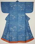 Edo Indigo Tsutsugaki Yuzen Silk Samurai- woman Kosode Sparrow Bamboo