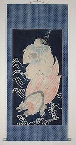 Edo Iindigo Tsutsugaki Urasima-Taro Cotton Hanging scroll.