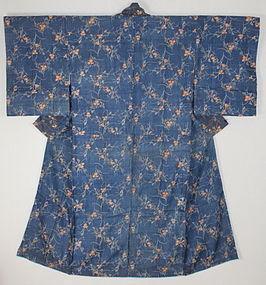 Edo Indigo Katazome Silk Japanese pampas grass Ivy Kimono.