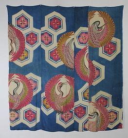 Edo Yuzen- dyeing Tsutsugaki Silk Furosiki Tugihagi Luxurious hue
