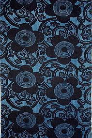 Meiji Indigo Katazome Cotton Hand-spun Thick