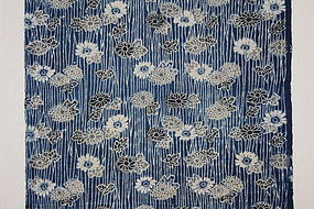 Edo Indigo Katazome Cotton Hand-spun Slightly thick Flower pattern