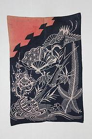 Edo Indigo Tsutsugaki Cotton Izumo-Yuage Hand-spun Thick