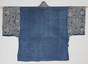 Edo Indigo Katazome Cotton Hanjyuban Hand-spun Thick