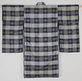 Edo Indigo Kasuri Kaiki-Silk Child Kimono High-quality