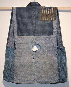 Meiji Indigo Cotton Koyori-Paper Noragi Sashiko Boro Sorihiki.