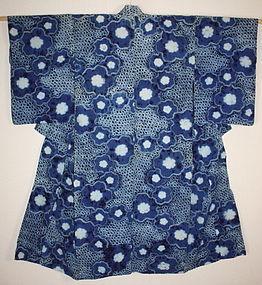 Meiji hand-spun & natural Indigo dye Narumi-shibori cotton kimono