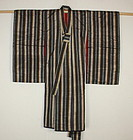 Japanese antique Beautiful lustrous stripe silk child kimono Meiji era