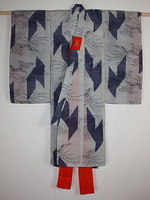 Japanese antique edo kasuri indigo dye & grey silk child kimono rare