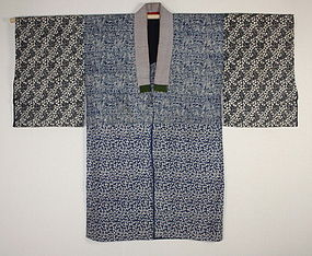 Japanese antique Edo-meiji indigo dye katazome cotton hanjyuban