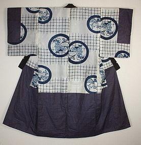 Japanese antique Edo-meiji indigo dye katazome silk nakagi-kimono