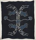 Edo Hemp Indigo Tsutsugaki Furoshiki Tabanenoshi Hand-spun Thick.