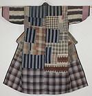 Taisho Cotton Indigo Stripe Boro Noragi was patched