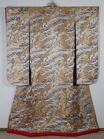 Last era of Meiji Silk - twill fabrics Uchikake Furisode-Kimono.