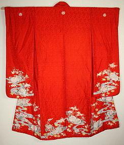 Meiji era rinzu yuzen dyeing & embroidery silk furisode kimono