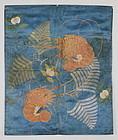 Edo Indigo dyed silk-cloth Bold silk-embroidery Prawns Fukusa Boro.
