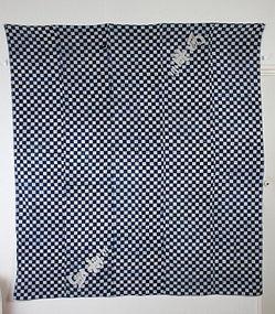 Edo Indigo Cotton Katazome Hand-spun Thick Very big Furoshiki.