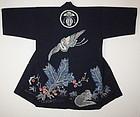 Meiji Cotton Indigo Tsutsugaki Shirusi-Hanten Slightly thick Hand-spun