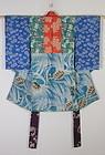 Edo Silk Katazome Tsugihagi Child kimono.