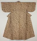 Taisho Cotton Persimmon tannin Shibori Kimono Slightly thick