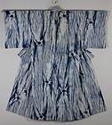 Meiji Indigo Cotton Sirakage-shibori Kimono Hand-spun