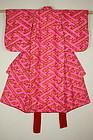 Japanese antique Beautiful katazome silk child kimono taisyo