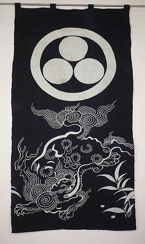 Japanese antique old tsutsugaki indigo dye thick cotton  meiji