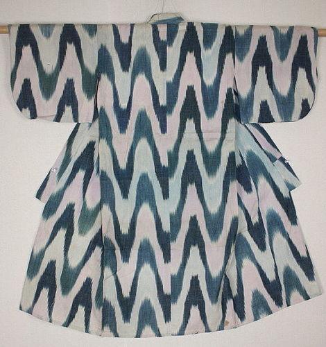 Japanese vintage charming kasuri ikat cotton yukata child kimono