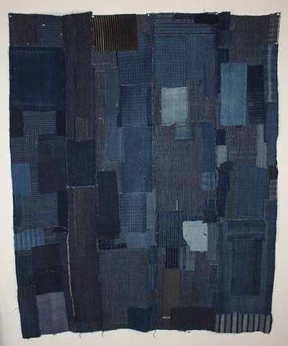 Japanese antique indigo dye stripe cotton Patched futon cover meiji