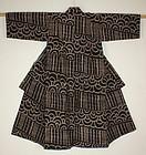 Japanese cotton child  kasuri ikat kimono Pattern Seigaiha