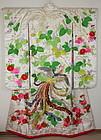 Meiji Silk Embroidery Utikake-Rinzu Kimono Phoenix Luxurious.