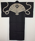Edo Indigo Tsutsugaki Hemp Hand-spun Rikushakukanban-kimono thick