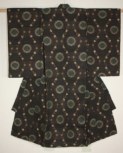 Japanese Antique old silk tsumugi ikat kasuri child kimono