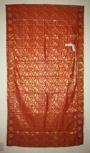 Japanese antique old Edo era silk kinran kesa Weave textile dragon