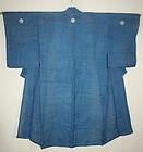 Japanese antique indigo dye hemp Formal Kimono with three family coat