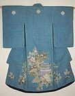 Edo Indigo Tsutsugaki Cotton Child Kimono Thick