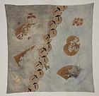 Edo Furoshiki Tsutsugaki Sarasa-Katazome Indigo Cotton Thick.