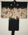 Japanese antique  beautiful yuzen dye silk child kimono lion & peonie