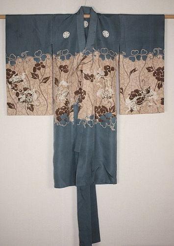 Japanese antique  beautiful yuzen dye silk child kimono lion & peonie